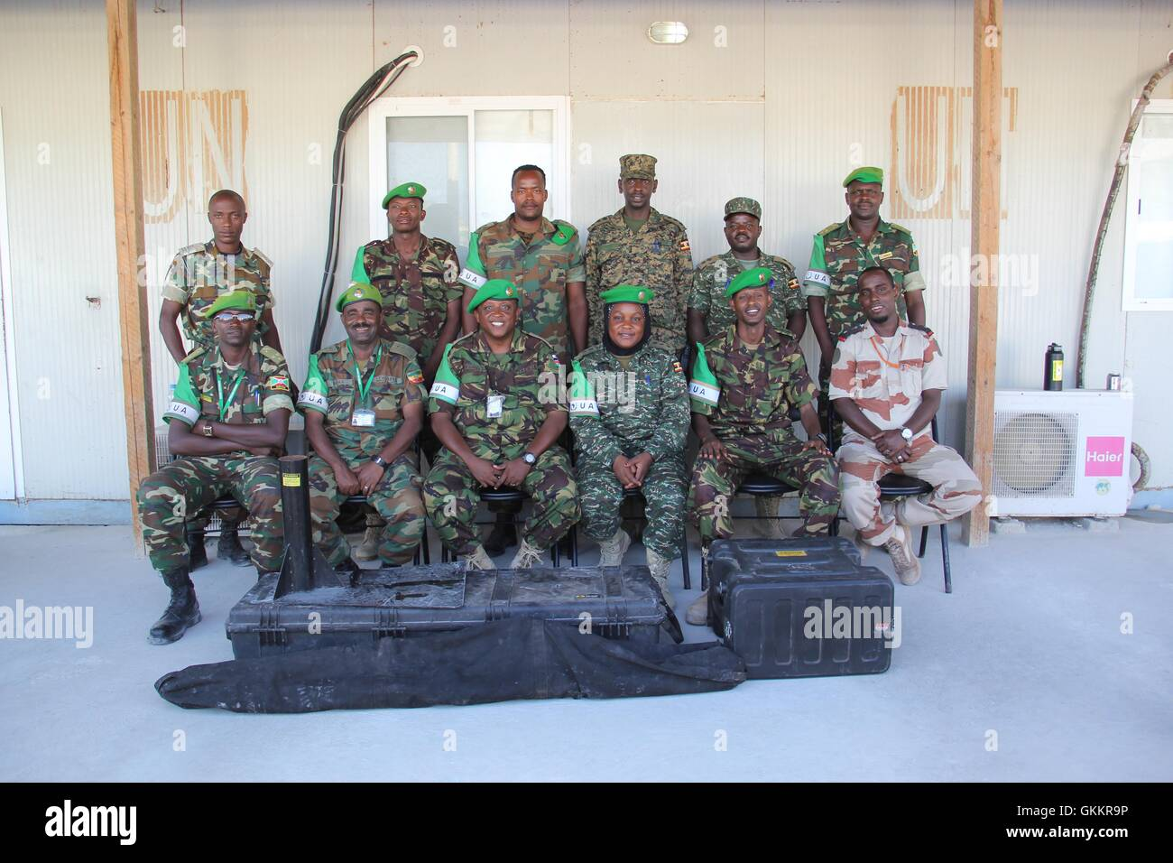 AMISOM Public Information Officers in a group photo at the end of a radio communication training held in Mogadishu, Stock Photo