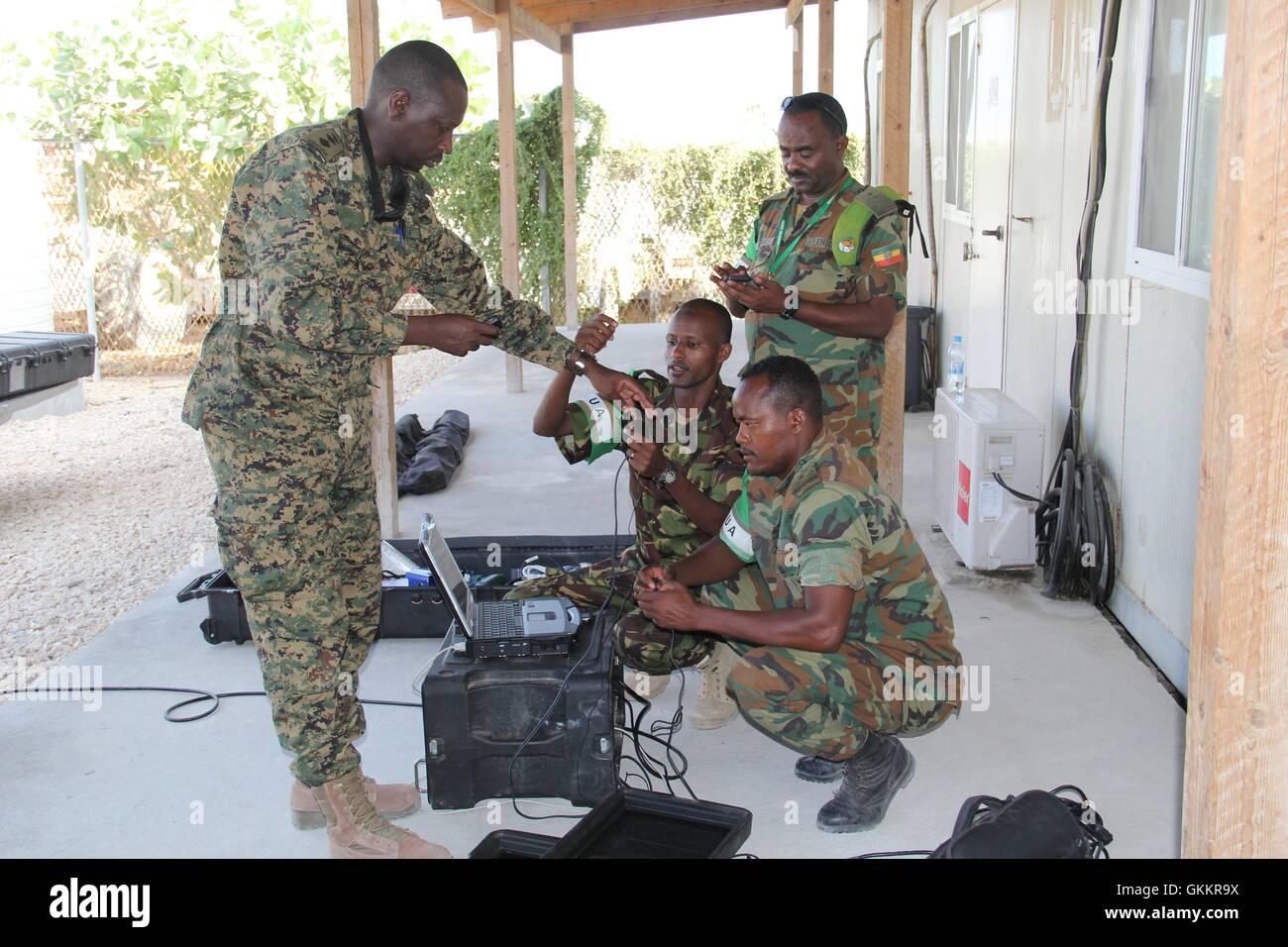 AMISOM Public Information Officers (PIOs) practice during a radio communication training held in Mogadishu, Somalia Stock Photo
