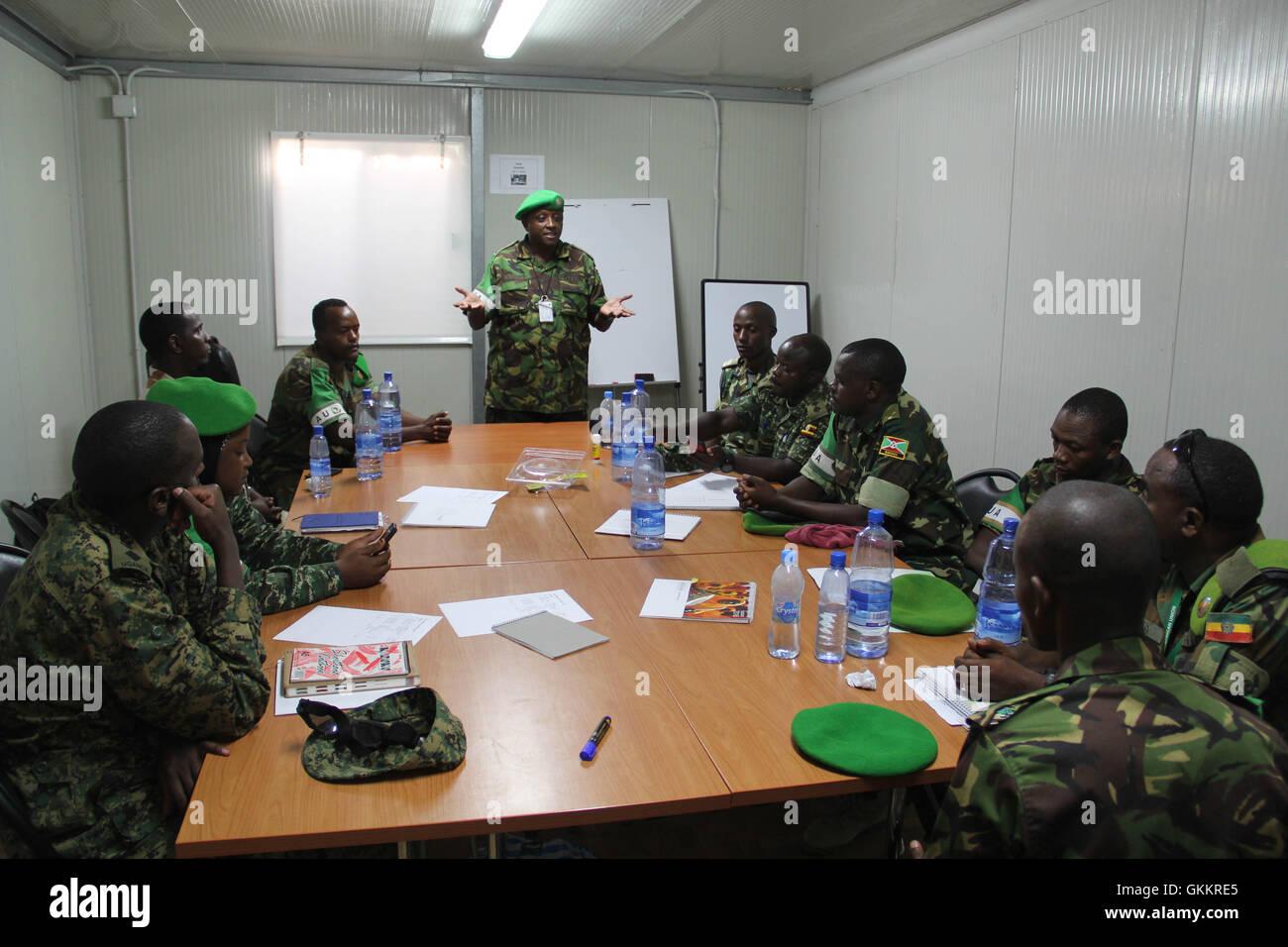 The AMISOM Force Spokesperson, Lt Col. Paul Njuguna speaks during a radio communication training for AMISOM Public Stock Photo