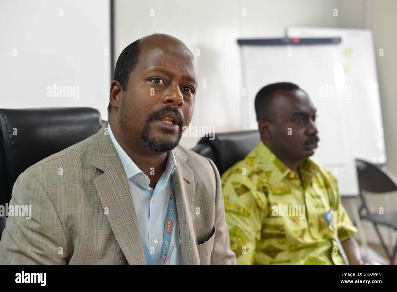 Dr. Omar Abdulle Alasow, the Acting Head of the AMISOM protection, human rights and gender cluster, speaks during - Stock Image