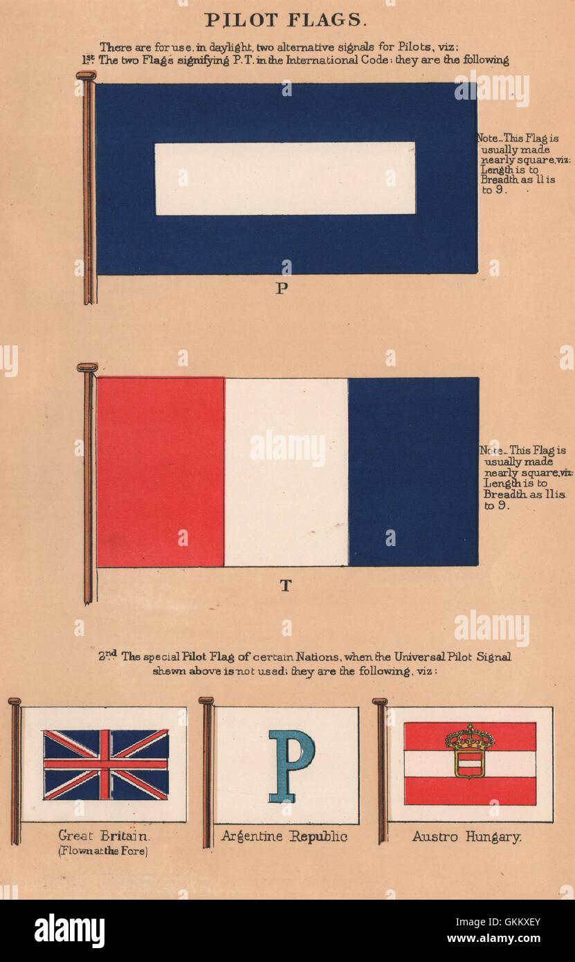 PILOT FLAGS. P. T. Great Britain. Argentine Republic. Austro Hungary, 1916 - Stock Image