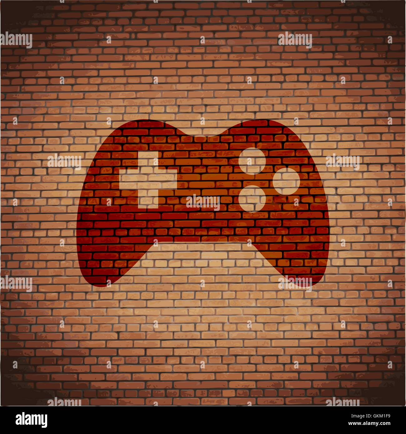 Gaming Joystick. Flat modern web button and space for your text. - Stock Vector