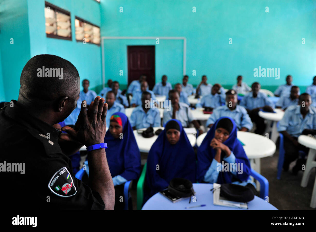Policemen at General Kaahiye Police Academy undergo training in criminal investigation. The training is being provided - Stock Image