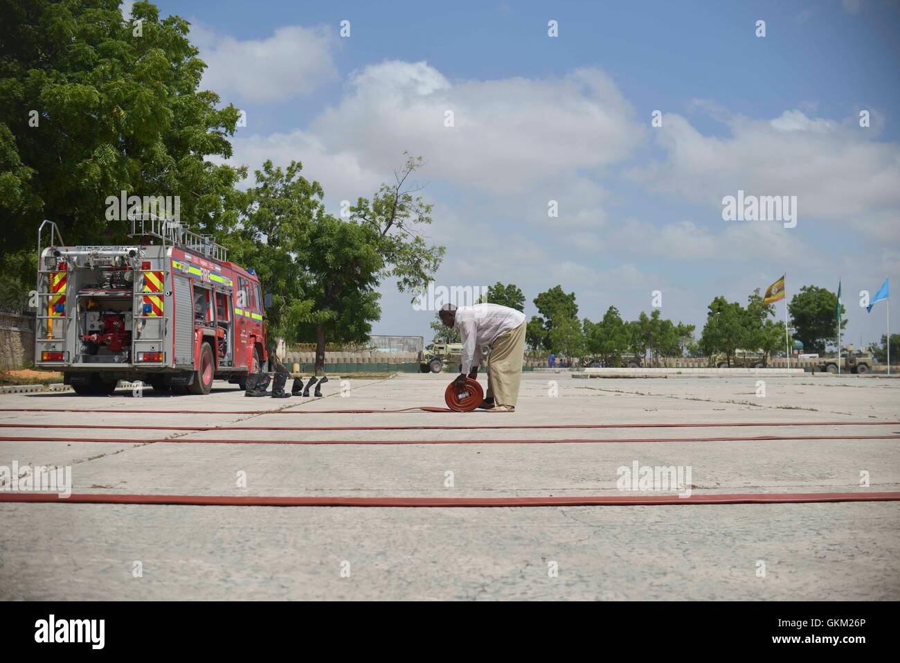Recruits in Mogadishu's new Fire Department are given training by members of the AMISOM forces on January 15, - Stock Image