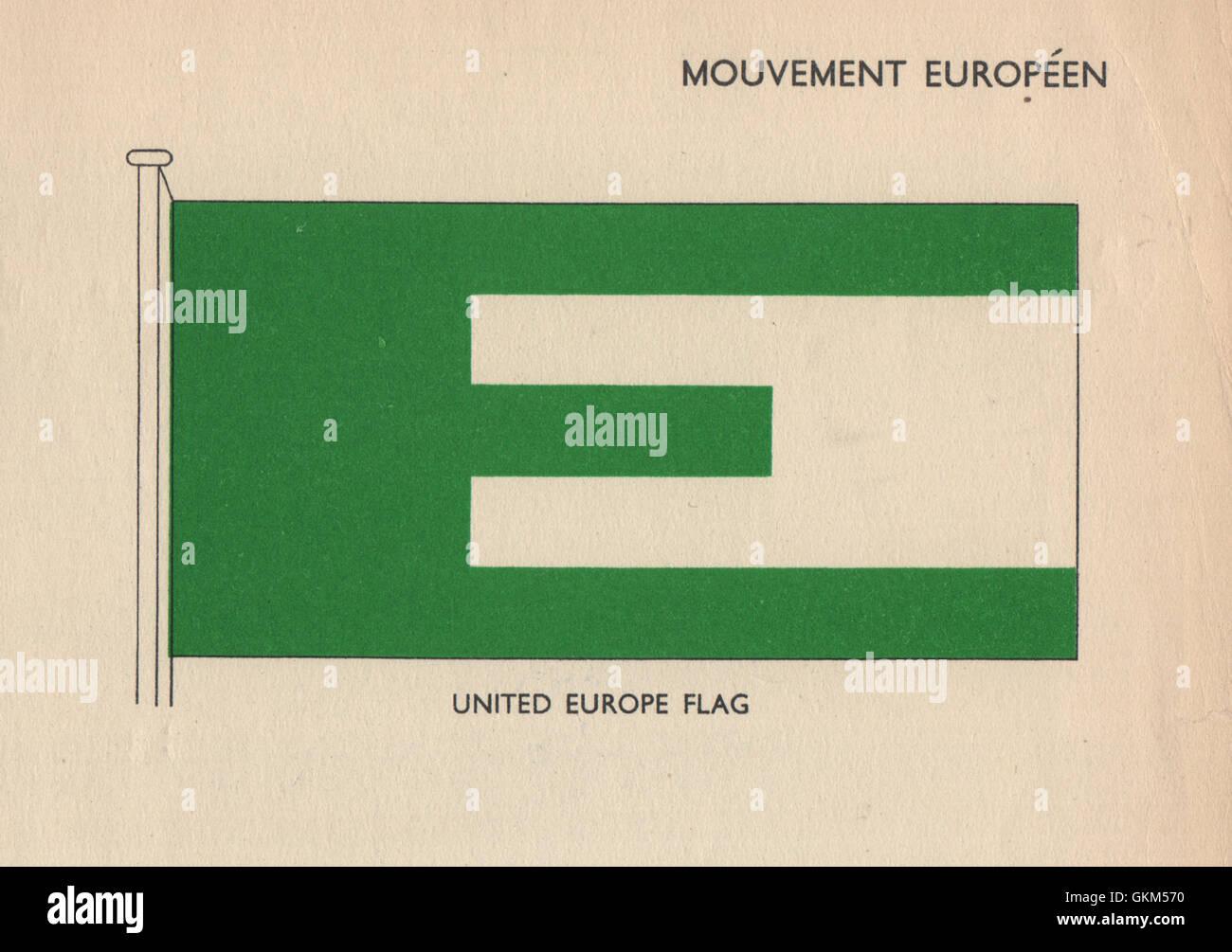 MOUVEMENT EUROPÉEN FLAG. United Europe Flag. EC EEC EU. European Union, 1958 - Stock Image