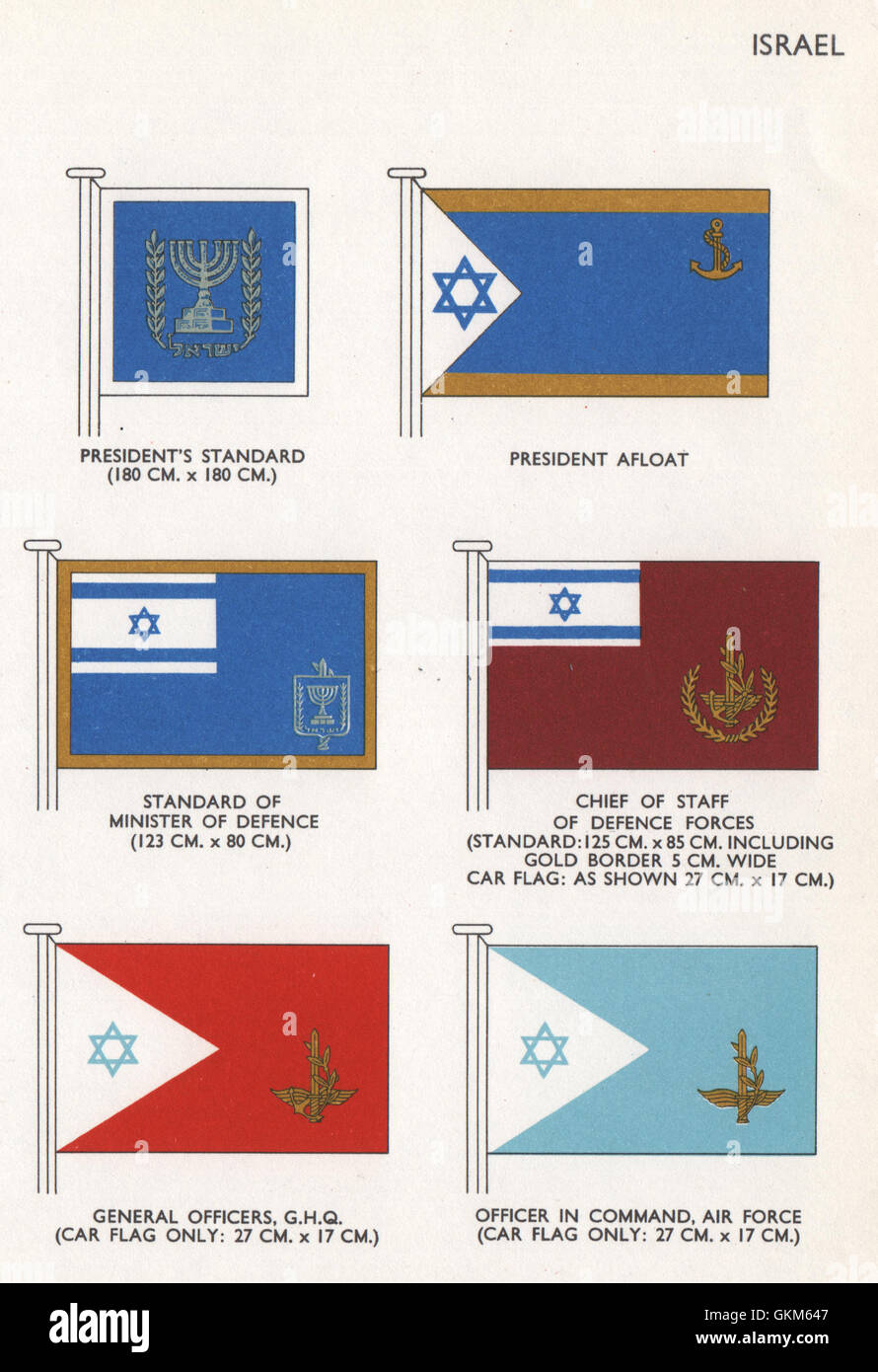 ISRAEL FLAGS President's Standard/Afloat Minister of Defence Chief of Staff 1958Stock Photo