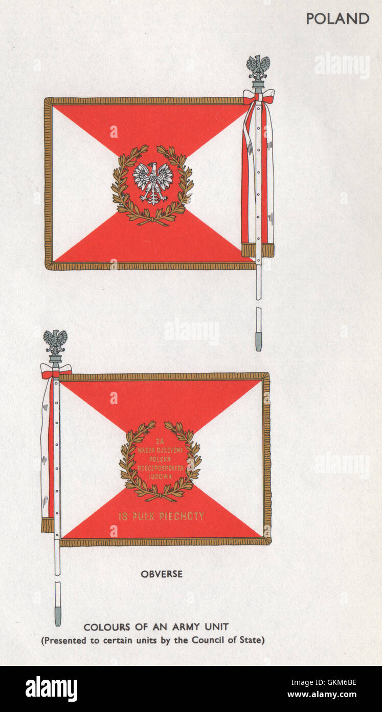 POLAND FLAGS. Obverse. Colours of an Army unit, vintage print 1958 - Stock Image