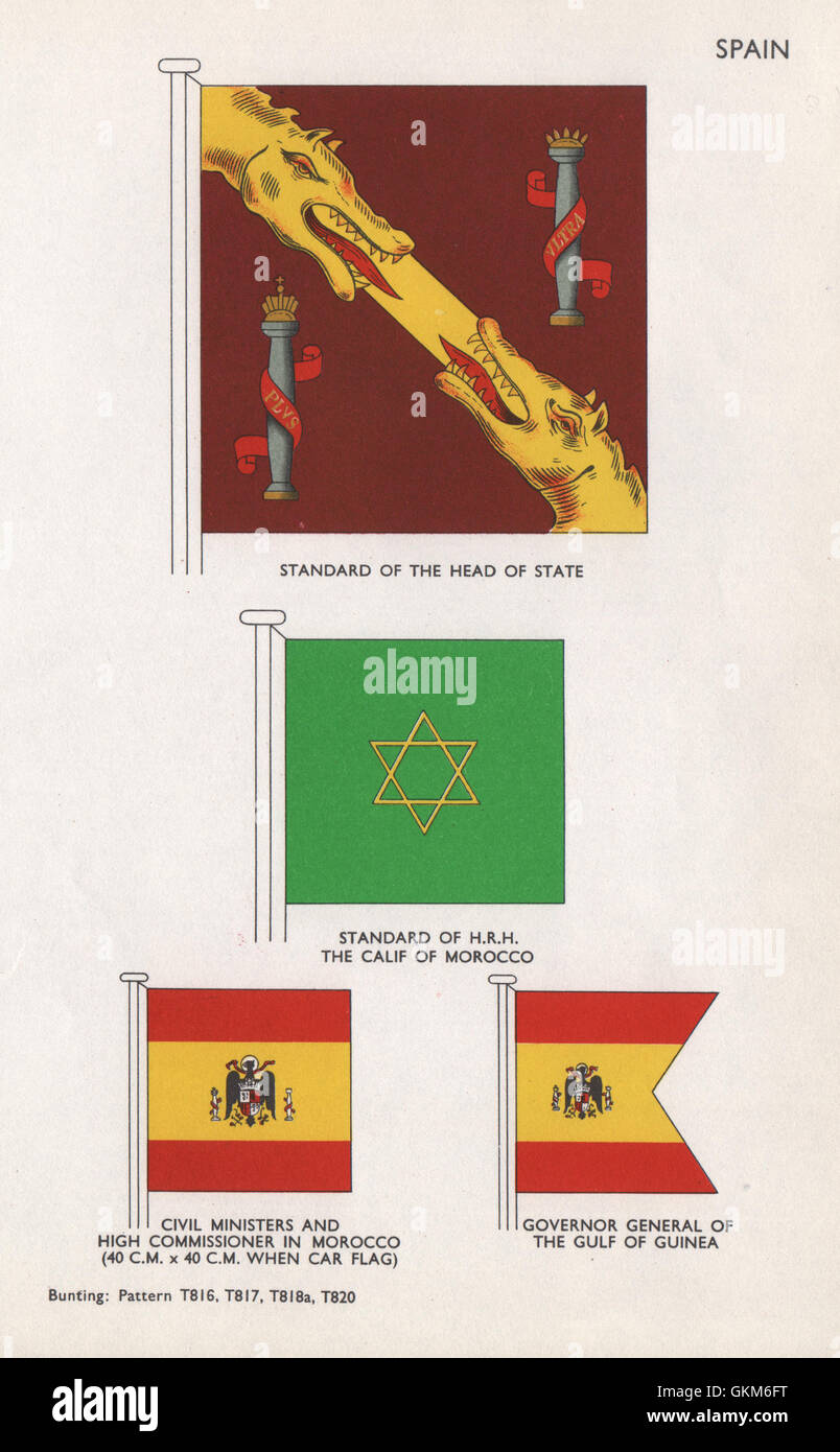 SPAIN STANDARDS/FLAGS Head of State. HRH Calif of Morocco High Commissioner 1958 - Stock Image