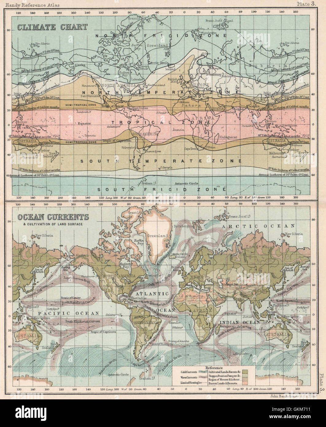 World Map With Currents.World Climate Chart Ocean Currents Bartholomew 1904 Antique Map