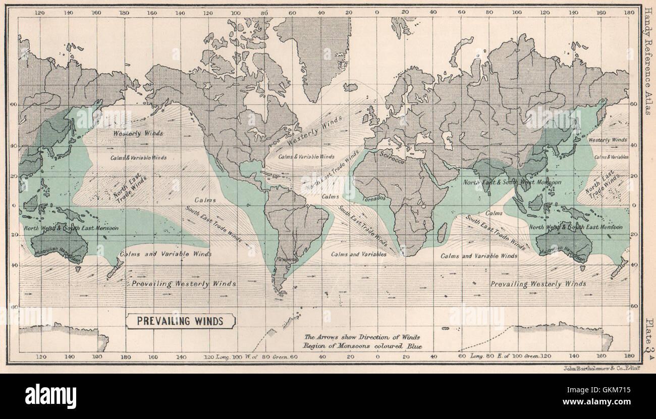 World Prevailing Winds. BARTHOLOMEW, 1904 antique map Stock Photo ...