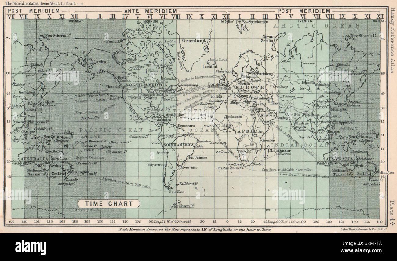 World Time Chart. BARTHOLOMEW, 1904 antique map Stock Photo