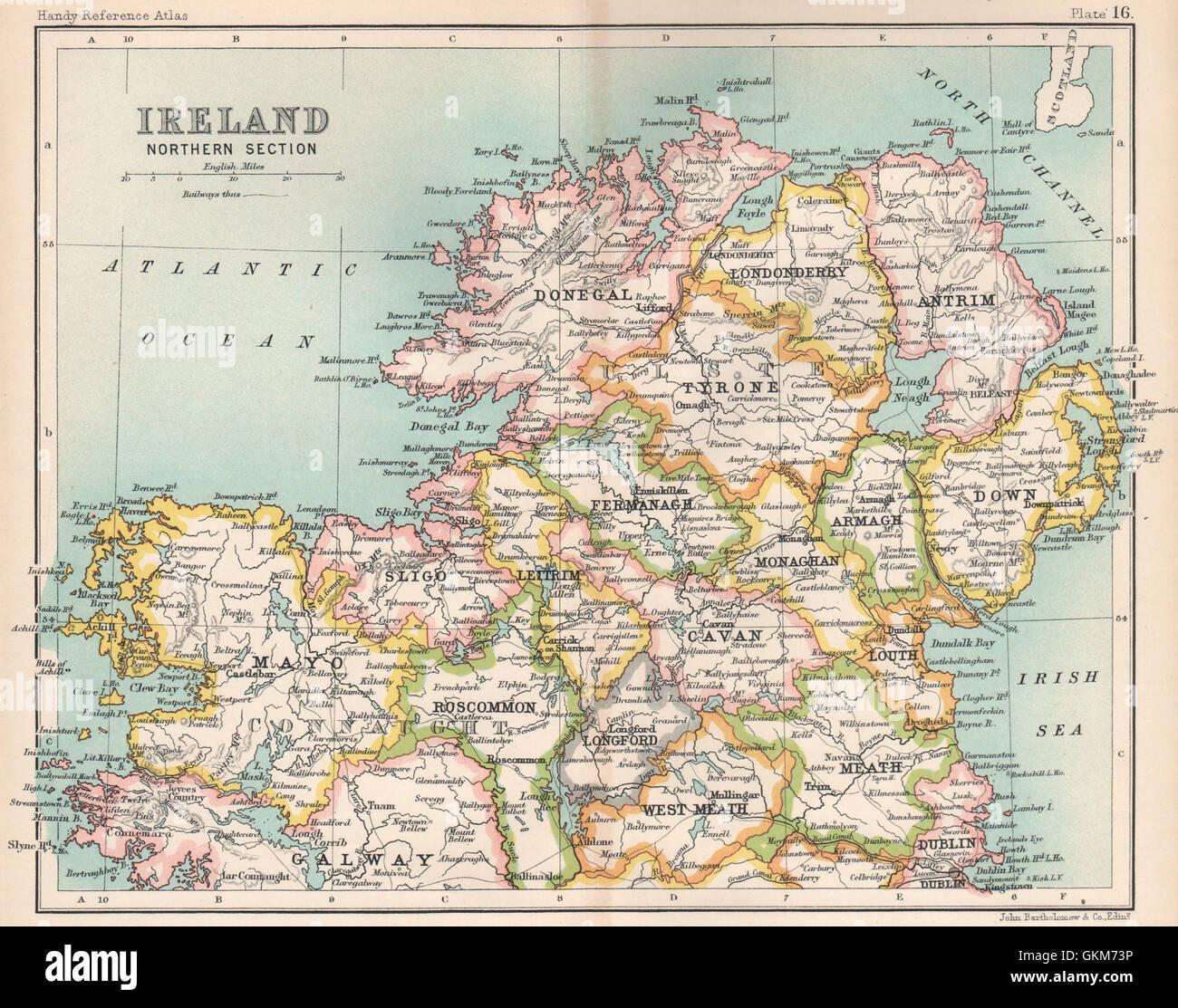 Ireland Northern Section. BARTHOLOMEW, 1904 antique map - Stock Image