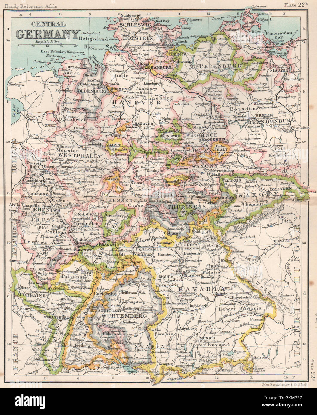 Map Of Central Germany.Central Germany Showing States Bartholomew 1904 Antique Map Stock