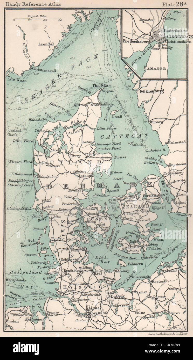 Denmark. Inset Copenhagen. BARTHOLOMEW, 1904 antique map - Stock Image