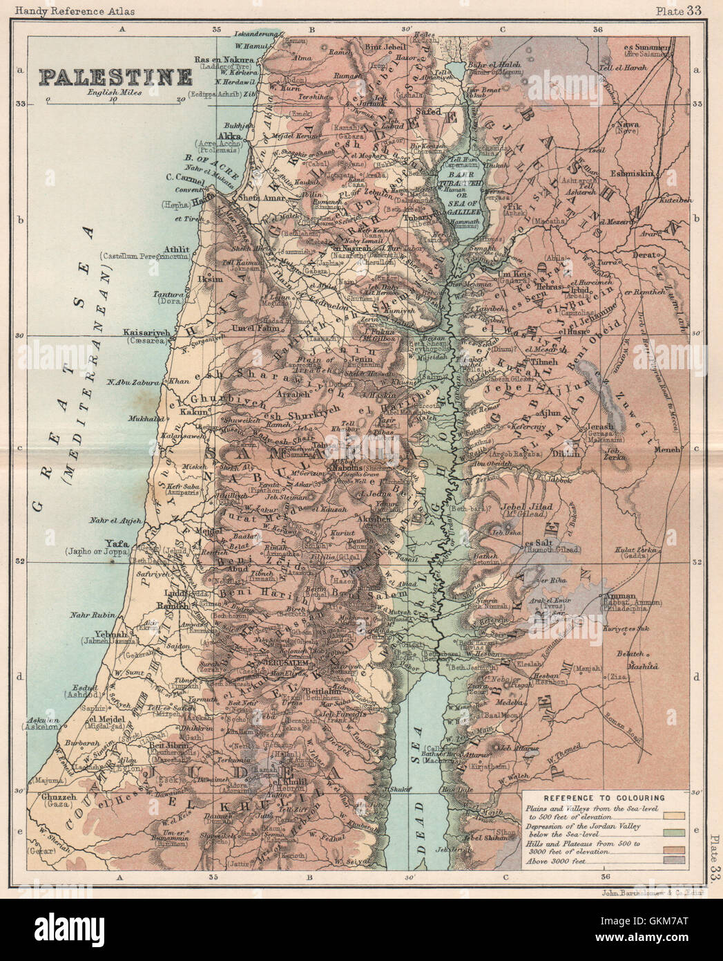Judea Dead Sea cross section TIMES 1922 map Holy Land Palestine relief Israel