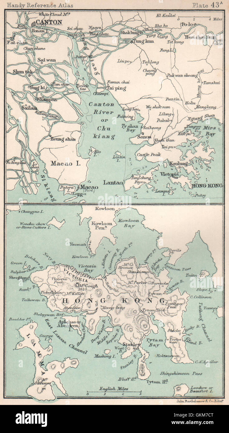 Hong Kong island. Pearl River Estuary. Canton Guangdong. BARTHOLOMEW, 1904 map - Stock Image