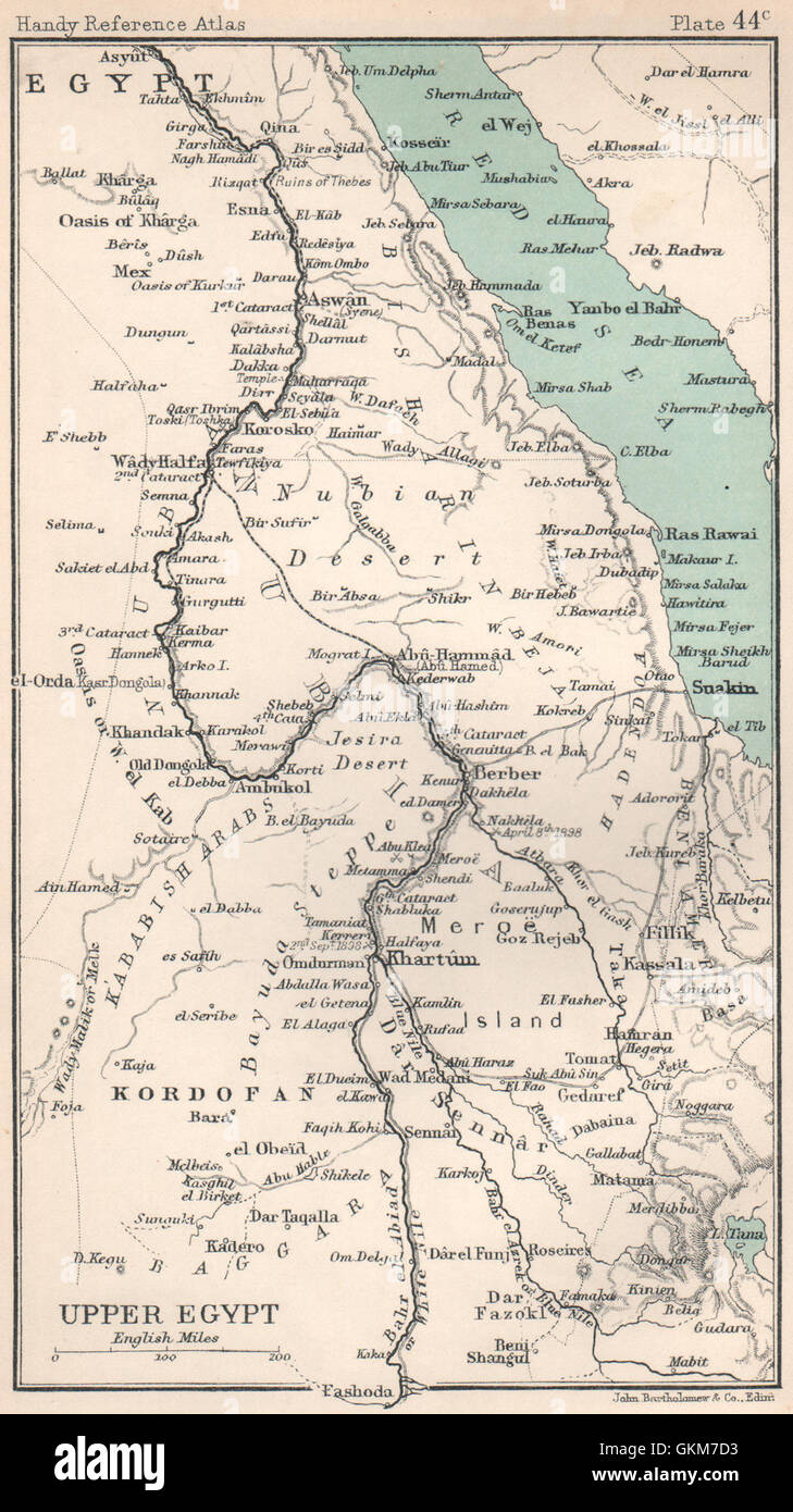 Upper Egypt. Nile Valley. Sudan. Red Sea. BARTHOLOMEW, 1904 antique map - Stock Image