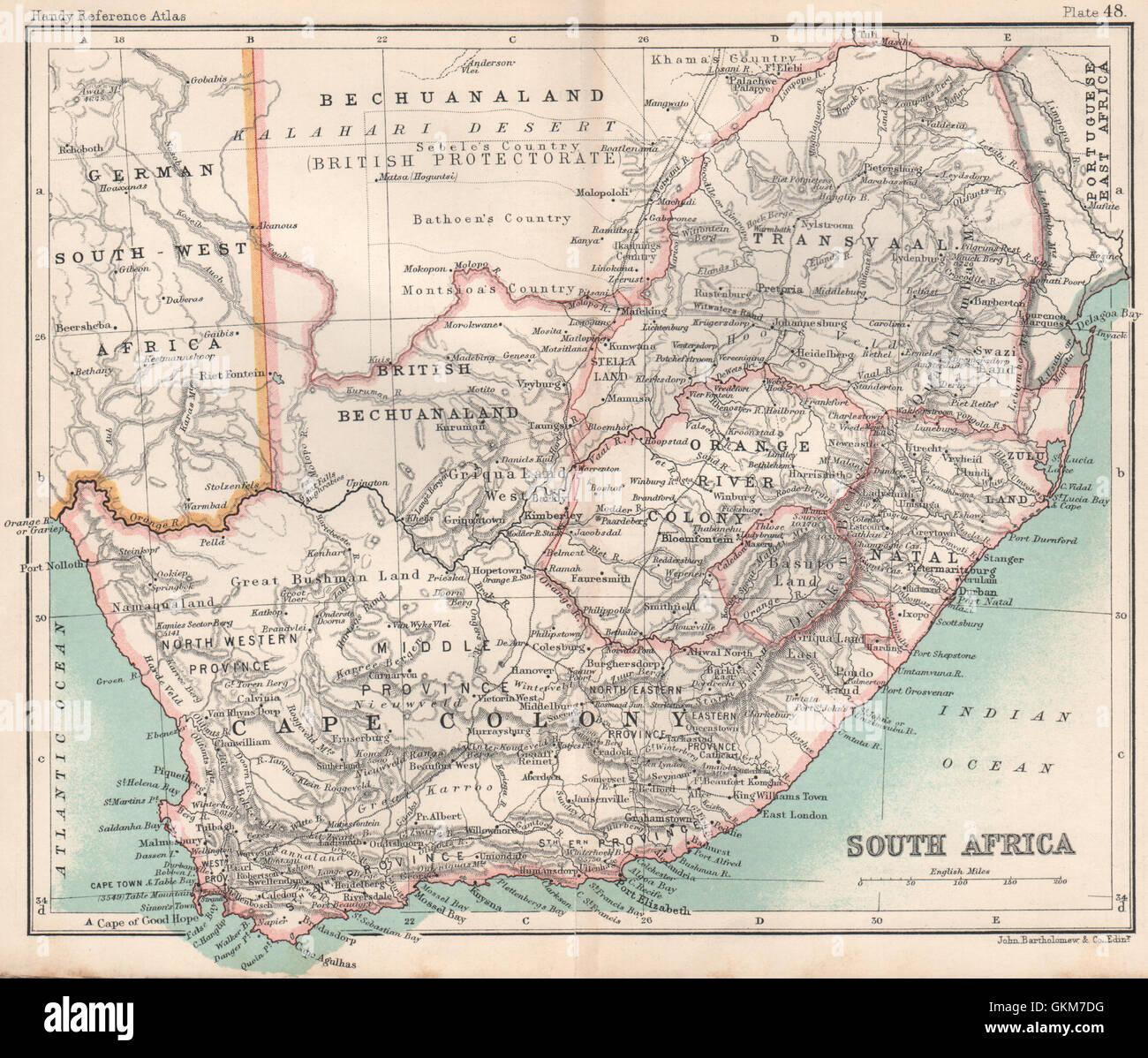 Botswana South Africa Map.Cape Colony Bechuanaland Botswana Southern Africa Bartholomew