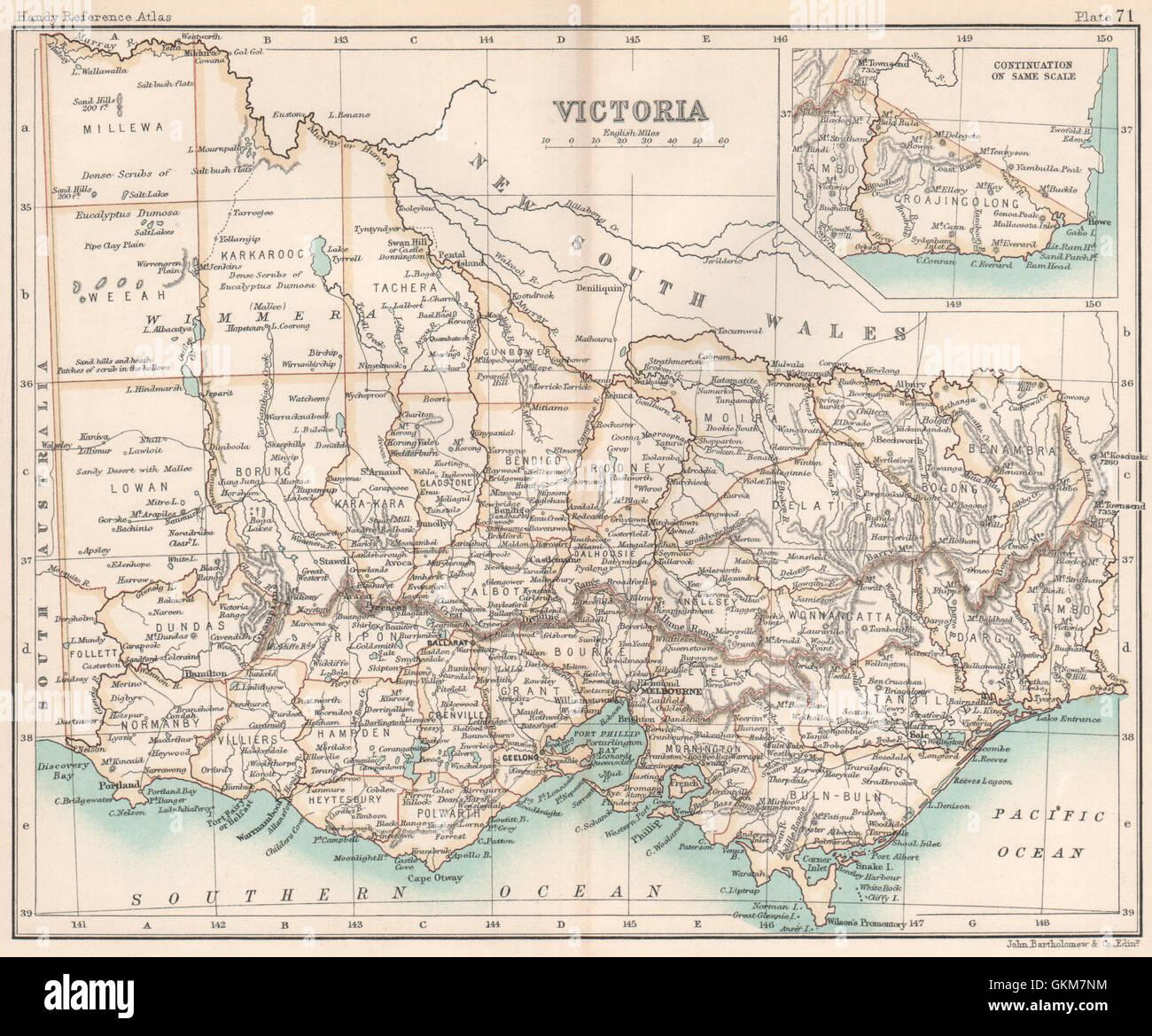 Victoria State Australia Map.Victoria State Map Australia Bartholomew 1904 Stock Photo