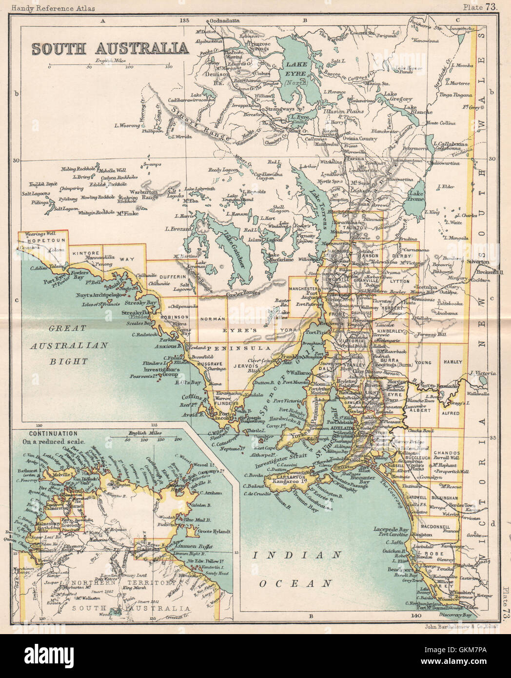 Map Of South Australia And Northern Territory.South Australia State Map Northern Territory Bartholomew 1904