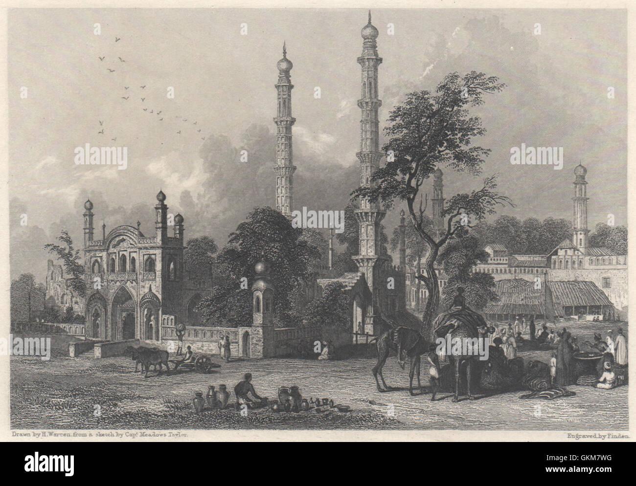 Mosque of Abdul Rahim Khan, Burhanpur, Hindustan, antique print 1840 - Stock Image