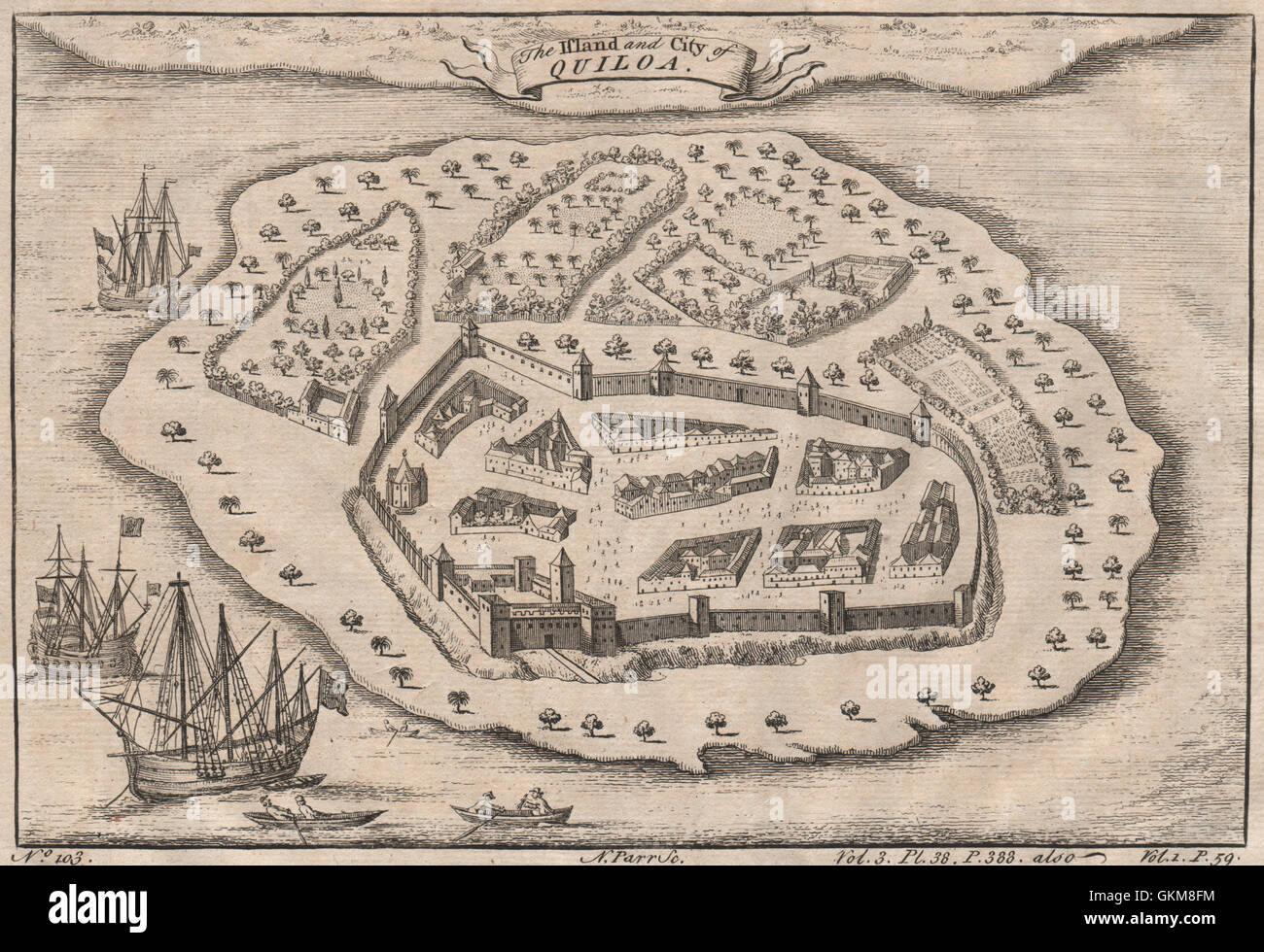 TANZANIA. 'The Island and City of Quiloa'. Kilwa Kisiwani. PARR, 1746 old map - Stock Image