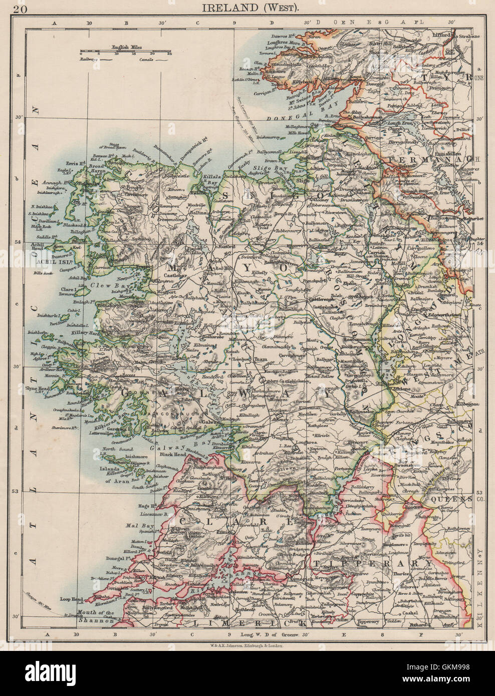 Map Of The West Of Ireland.Connacht Connaught Galway Mayo Sligo Leitrim West Ireland Stock