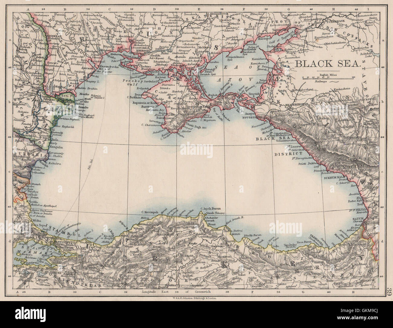 Black Sea Russia Turkey Crimea Romania Bulgaria Kutais Johnston