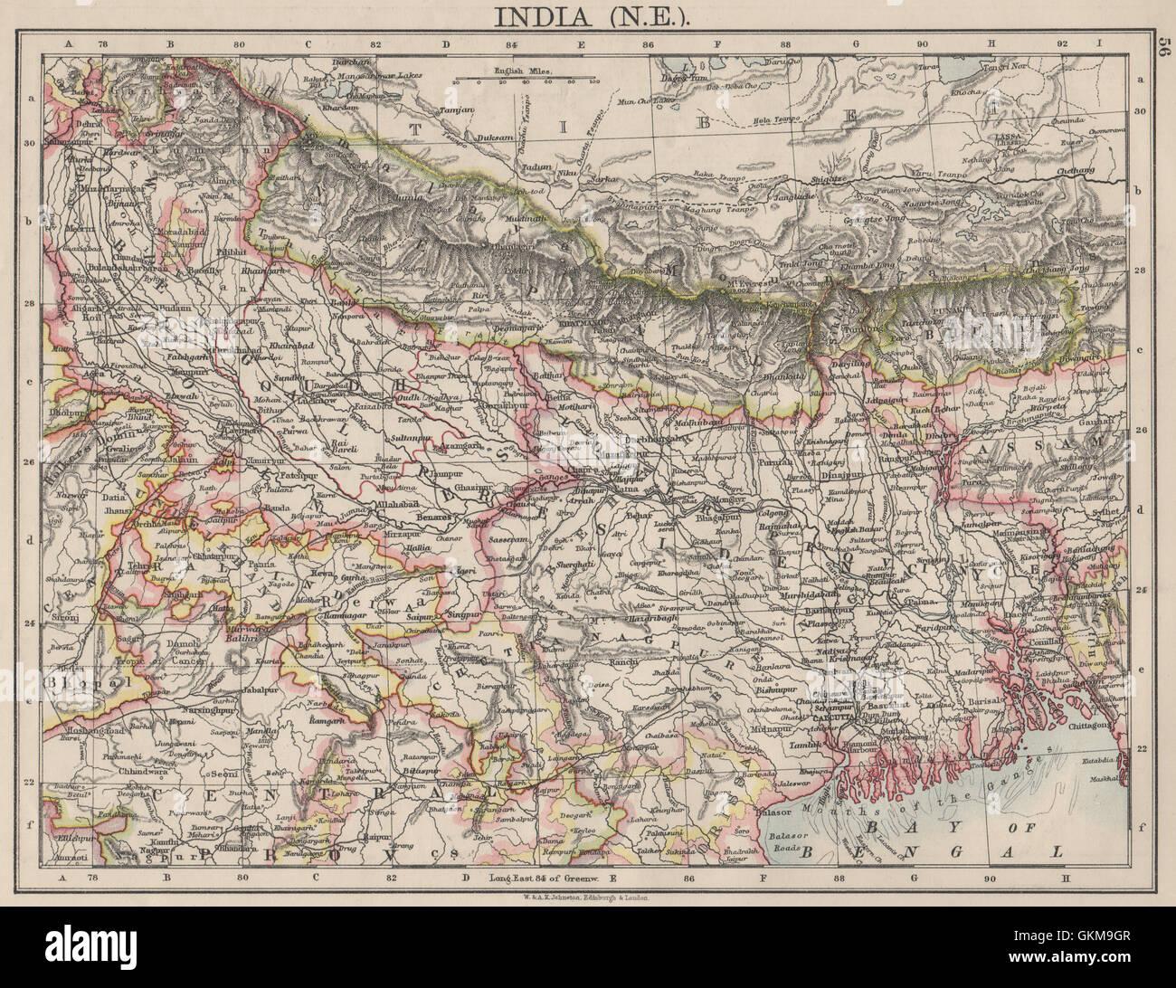 Johnston 1906 Map Bengal Nepal Bhutan Calcutta Bangladesh British India Ne