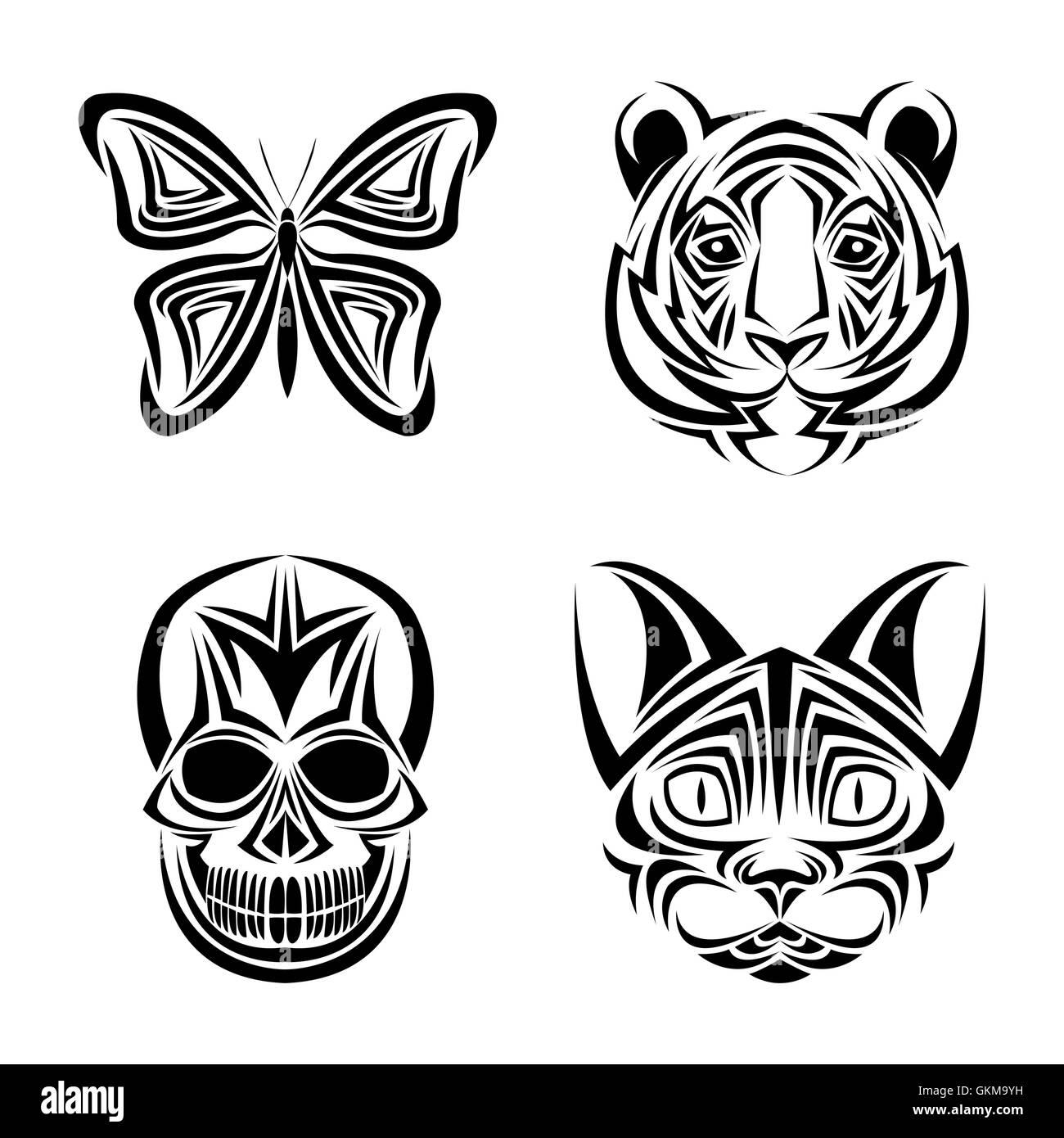 Skull Butterfly Tiger Cat Tattoo Design Stock Vector Art