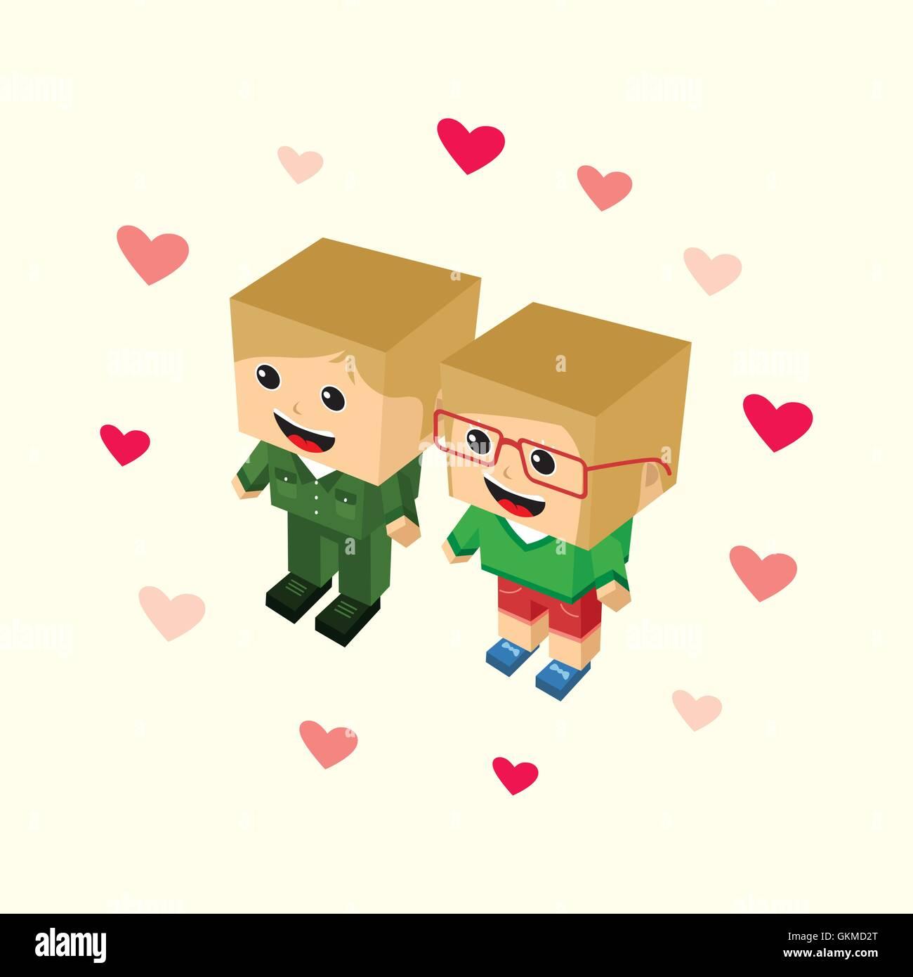 love couple block isometric cartoon character - Stock Image