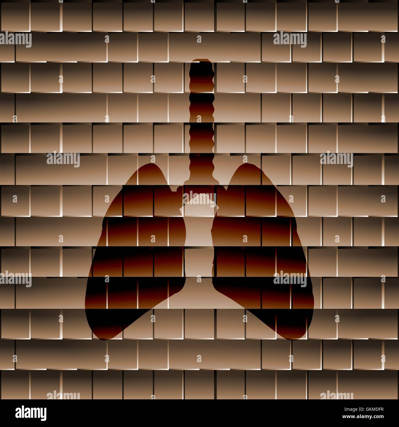 Human lung. Flat modern web button  and space for your text - Stock Image