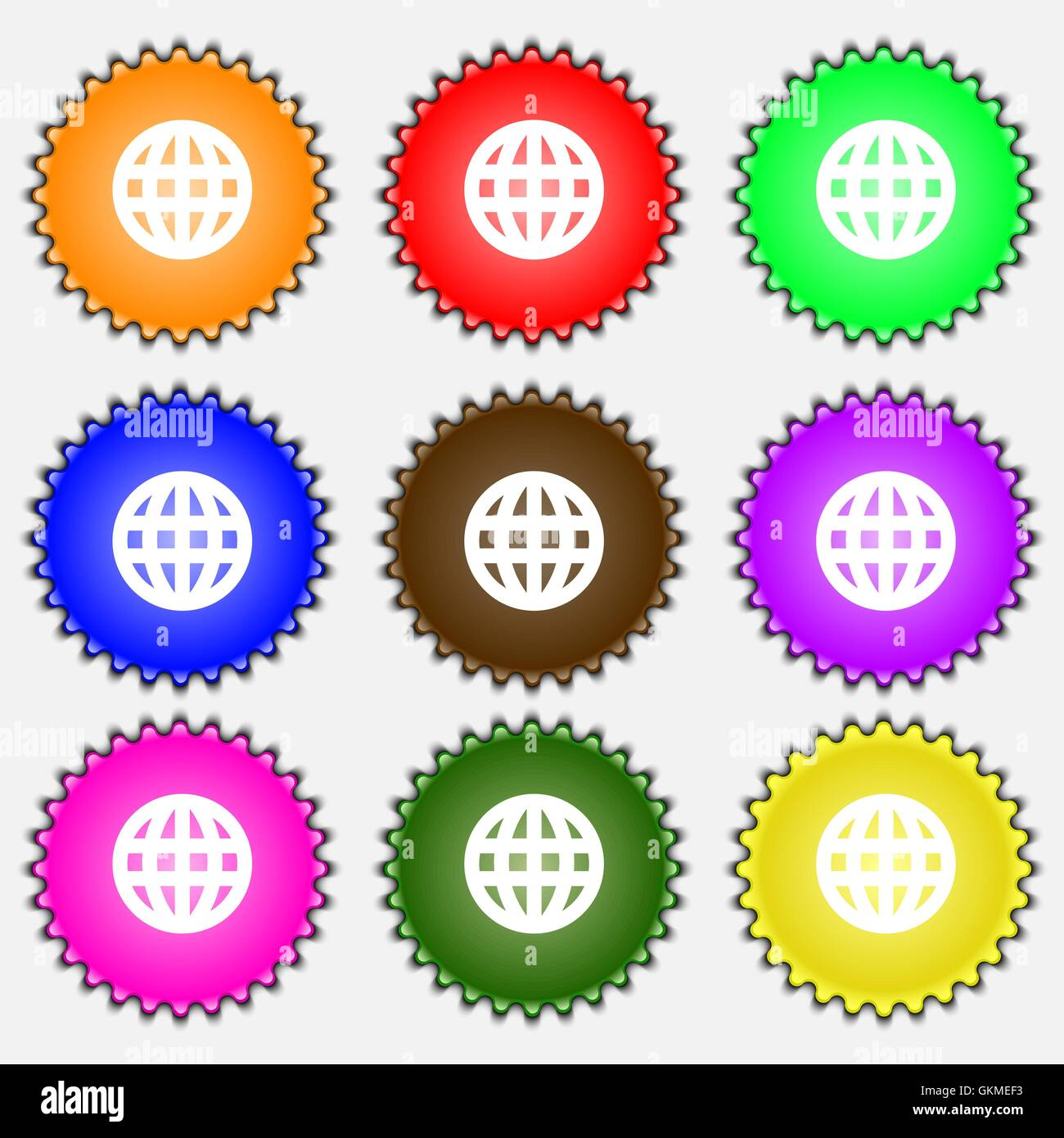 Globe, World map geography  icon sign. A set of nine different colored labels. Vector Stock Vector