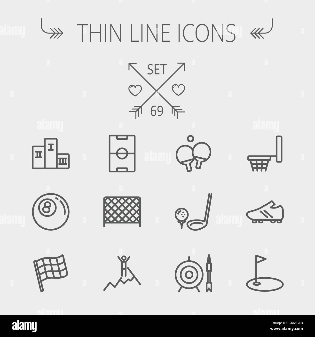 Billiards Table Black And White Stock Photos Images Page 2 Alamy 69 Thinline Wiring Diagram Sports Thin Line Icon Set Image