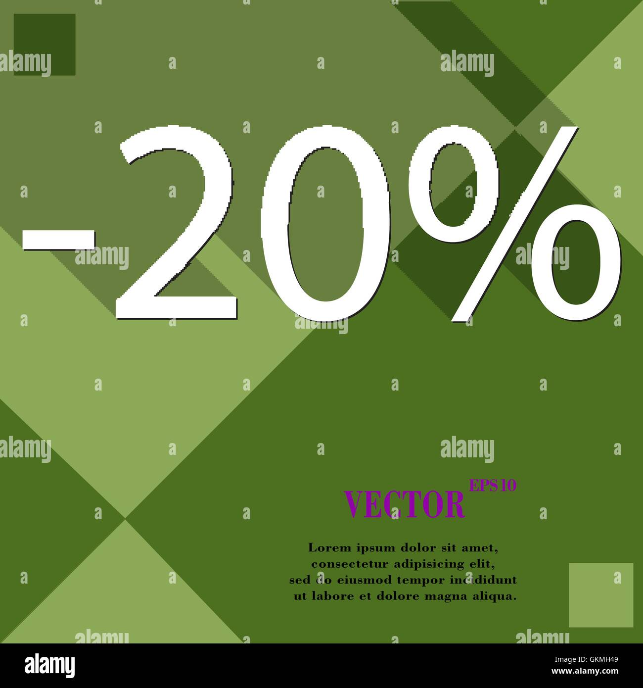 20 percent discount icon symbol Flat modern web design with long shadow and space for your text. Vector - Stock Vector