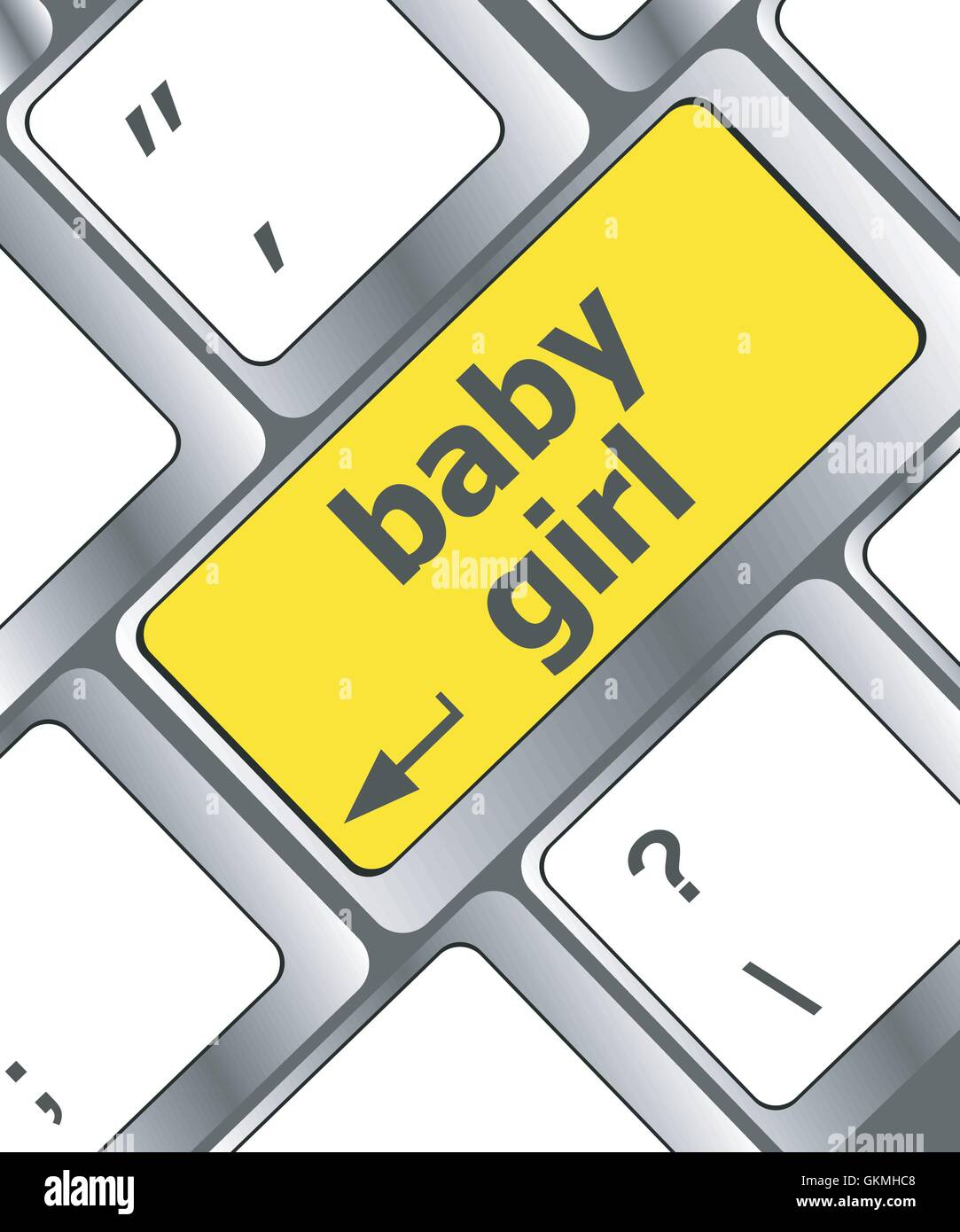 Keyboard with baby girl word on computer button - Stock Vector