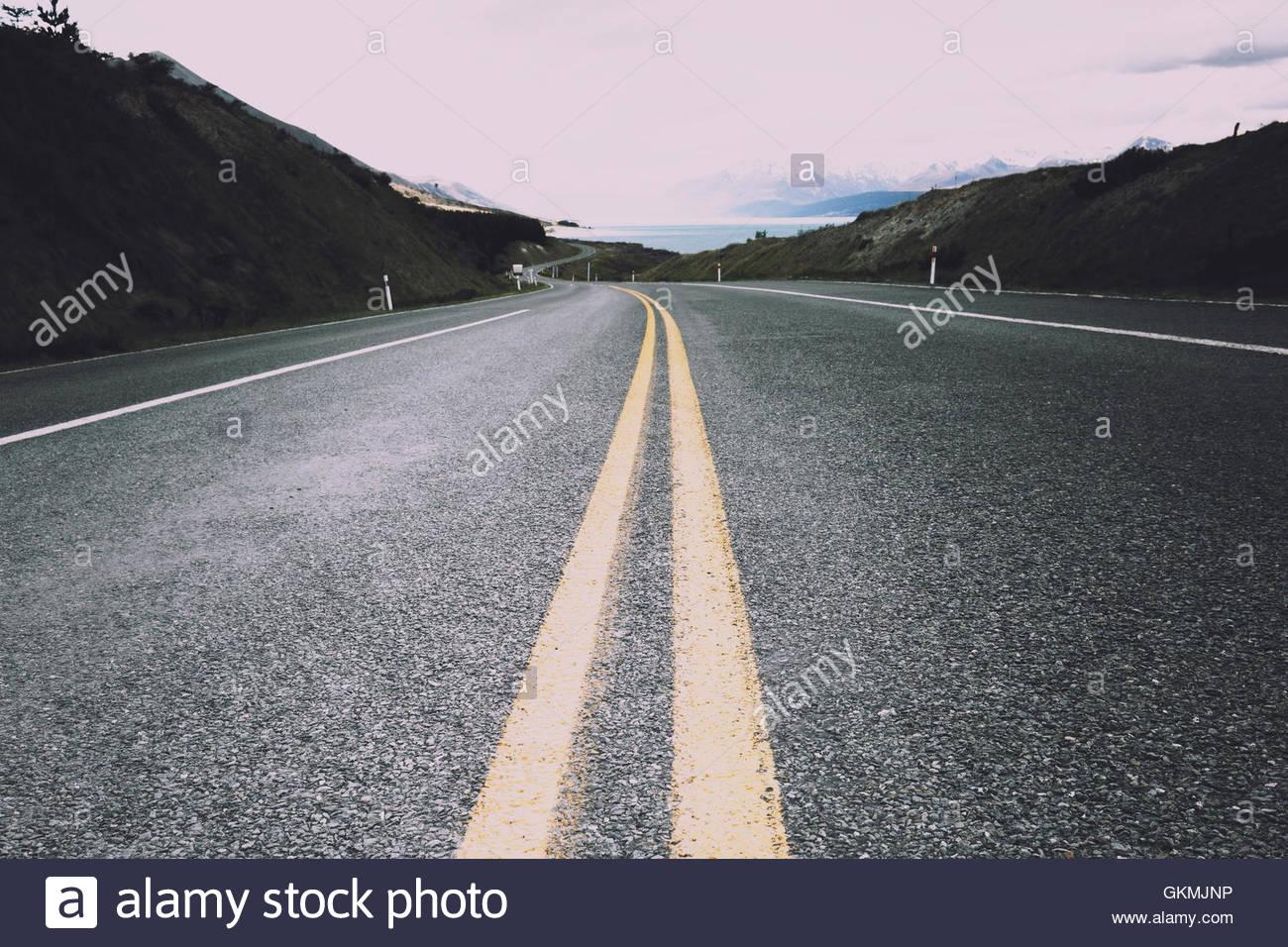 Road to Mt Cook National Park captured in landscape format. - Stock Image