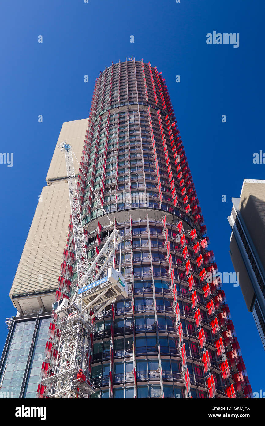 General views of the Barangaroo development project showing International Towers Sydney, and Tower One, Streets - Stock Image