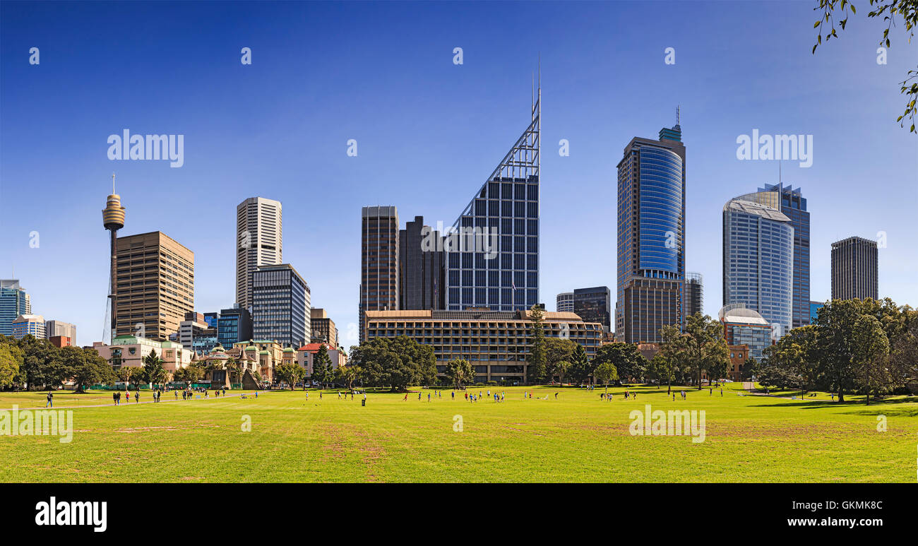 Wide panorama of Sydney city landmark towers and buildings from Royal eye hospital to modern bank offices as seen - Stock Image