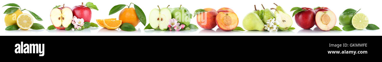Fruits apple orange nectarine apples oranges in a row isolated on a white background - Stock Image