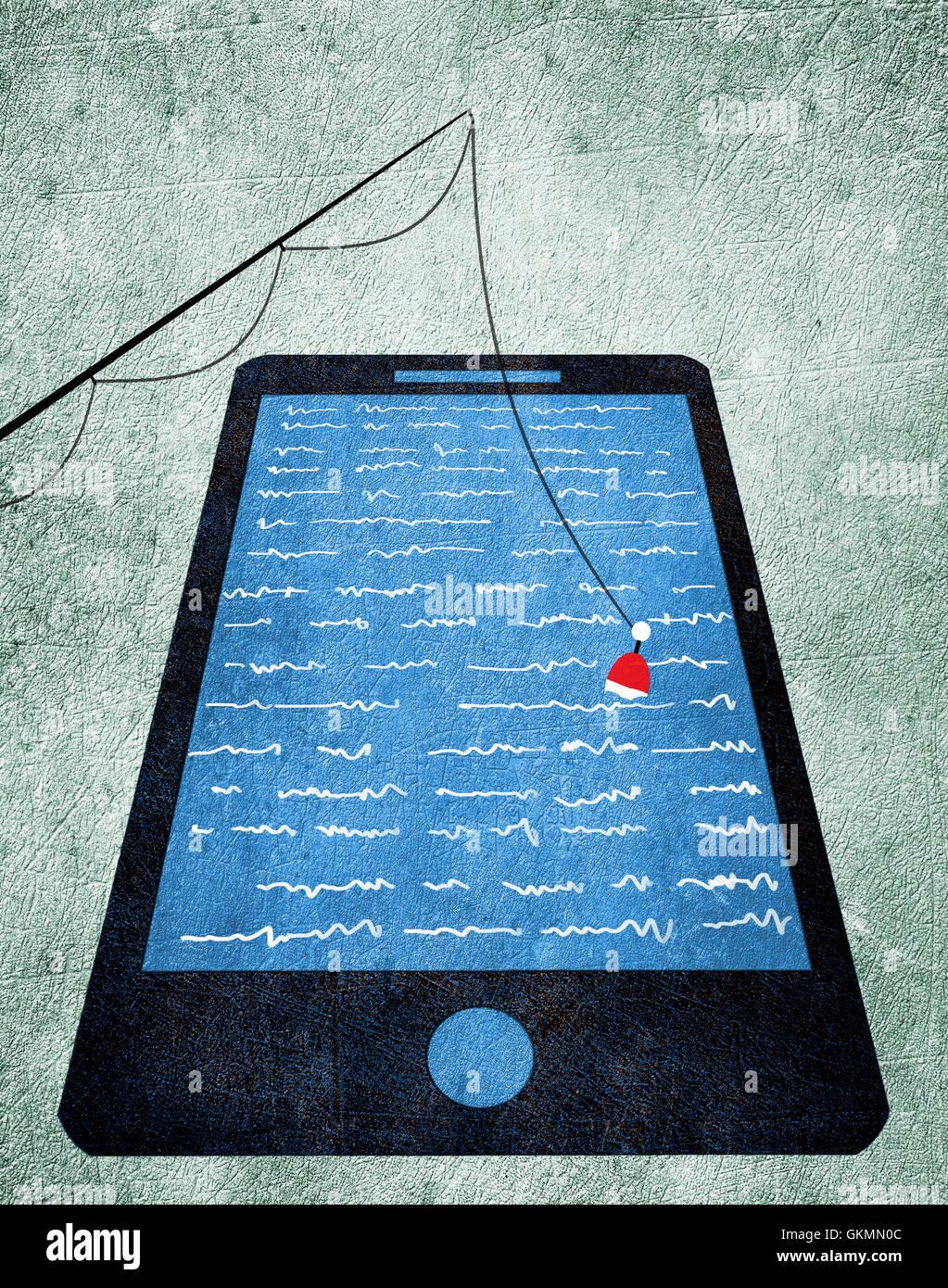 fishing pole and smart-phone digital illustration - Stock Image