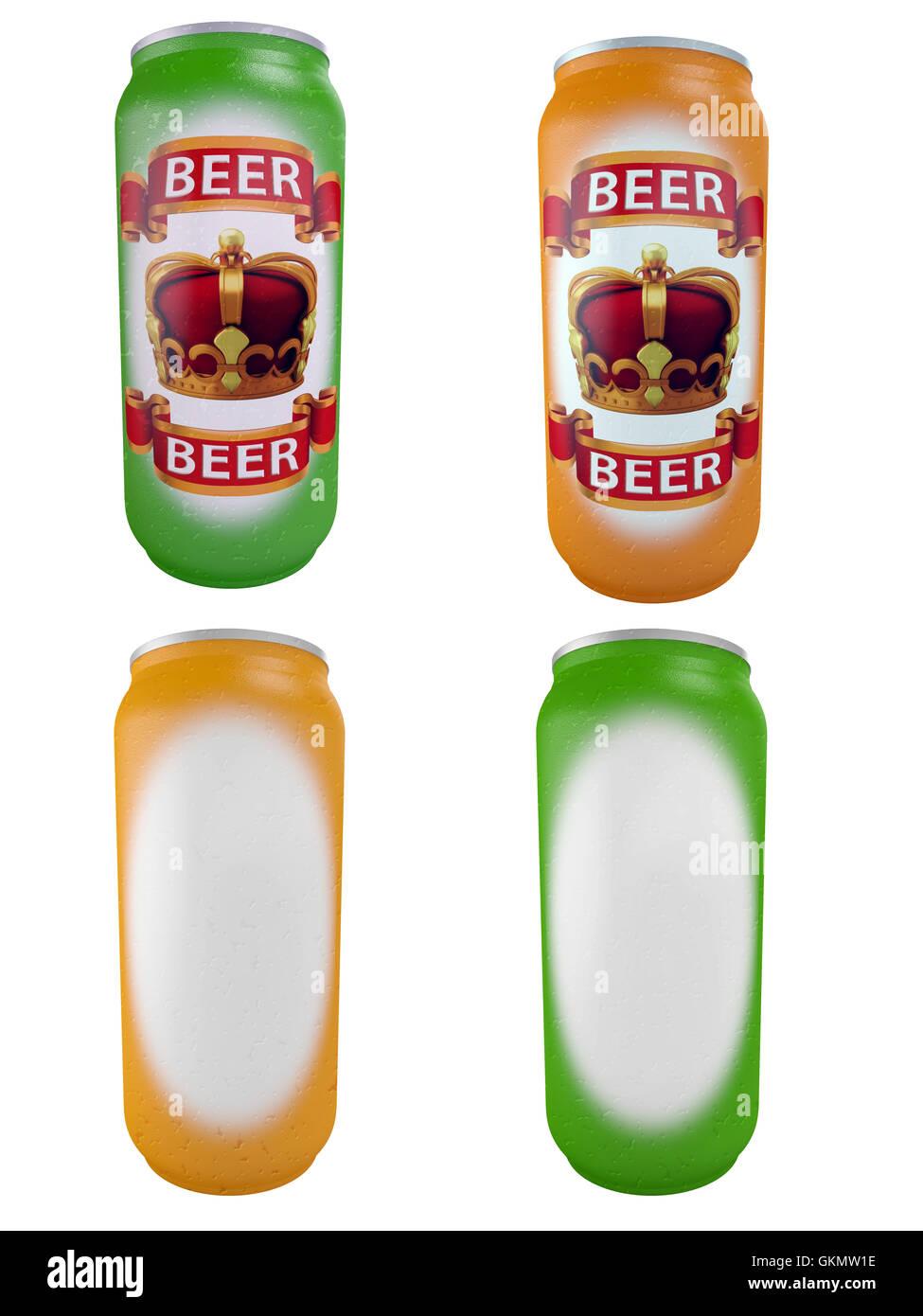 aluminium jars for beer - Stock Image