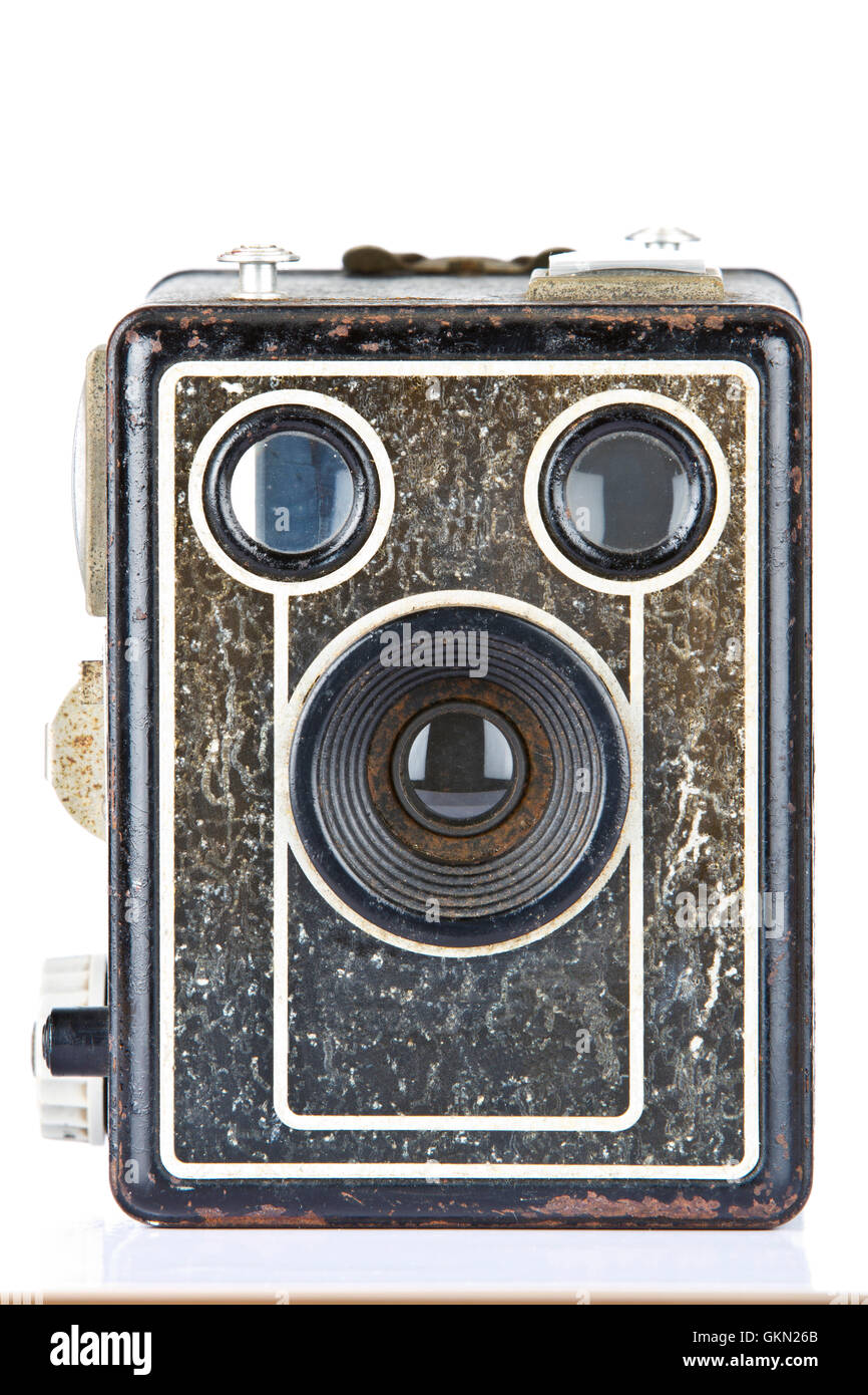 Vintage Box Brownie Camera with some corrosion and signs of wear - Stock Image
