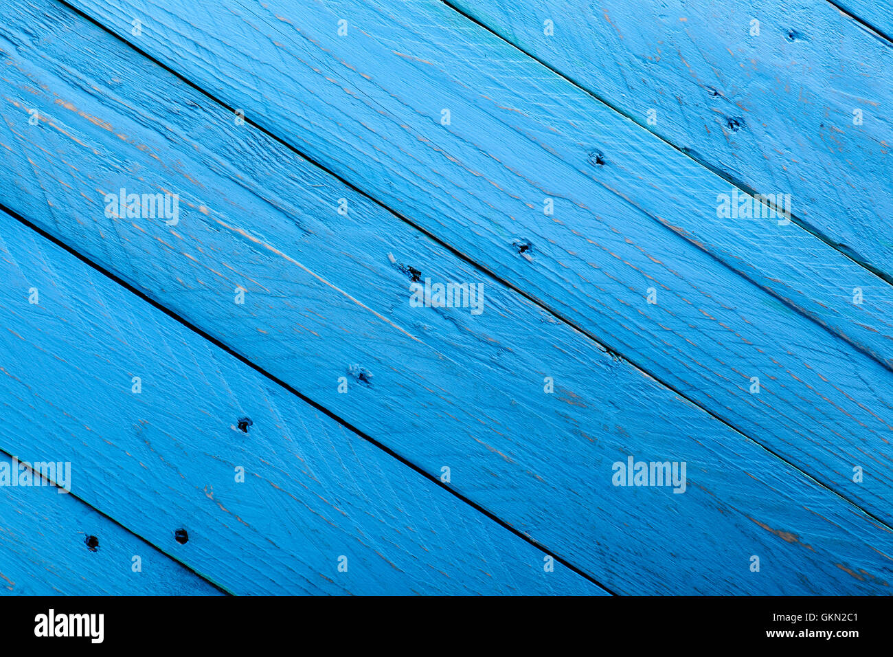 Blue Parallel Wooden Boards with Holes - Stock Image