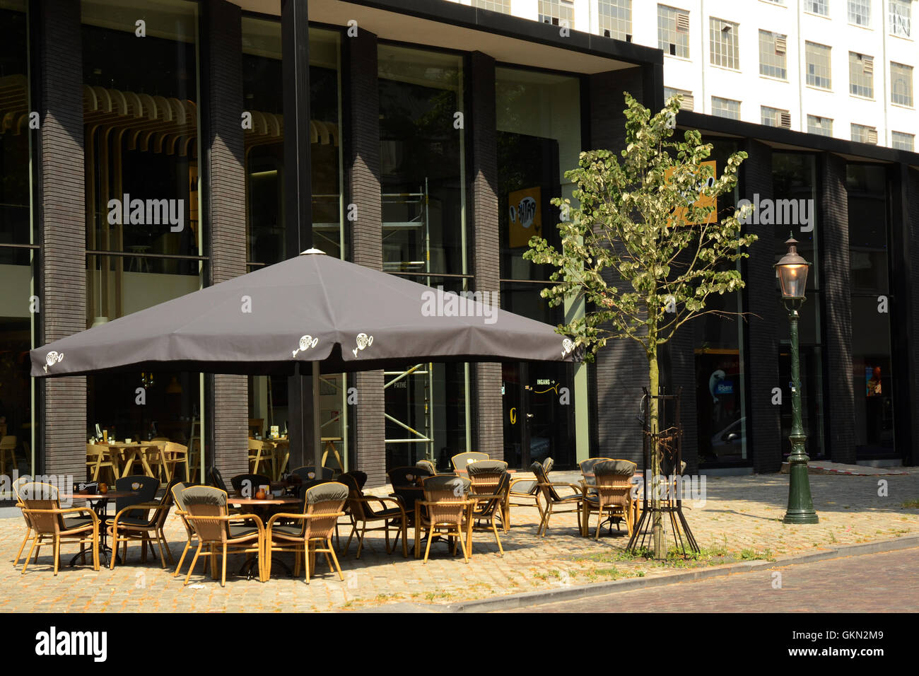 Terrace of Charlie's Café, located by the new Pathé cinema complex in Maastricht - Stock Image