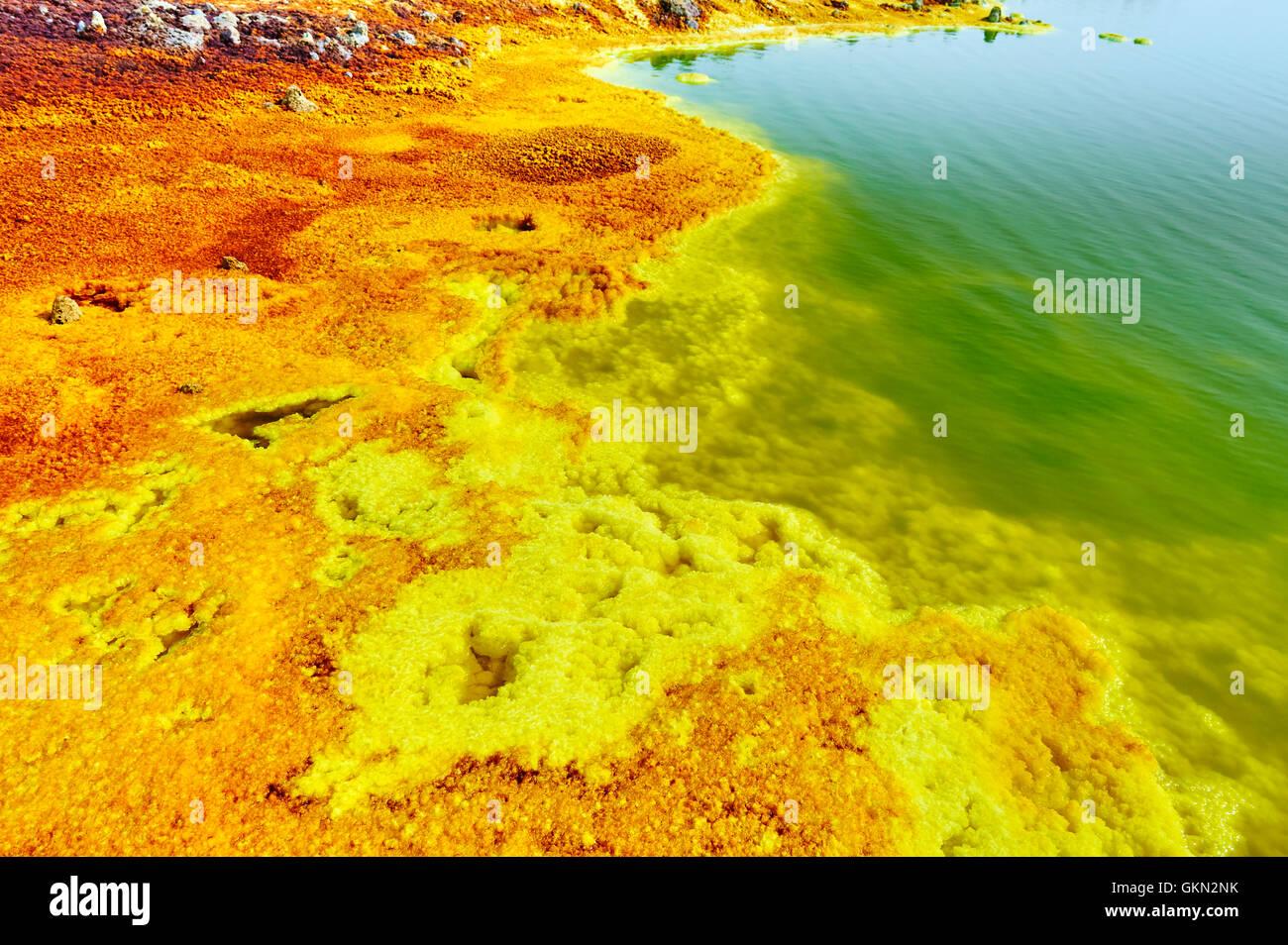 DANAKIL DEPRESSION, ETHIOPIA - SEPT 20, 2013: Inside the explosion crater of Dallol volcano, Danakil Depression, - Stock Image
