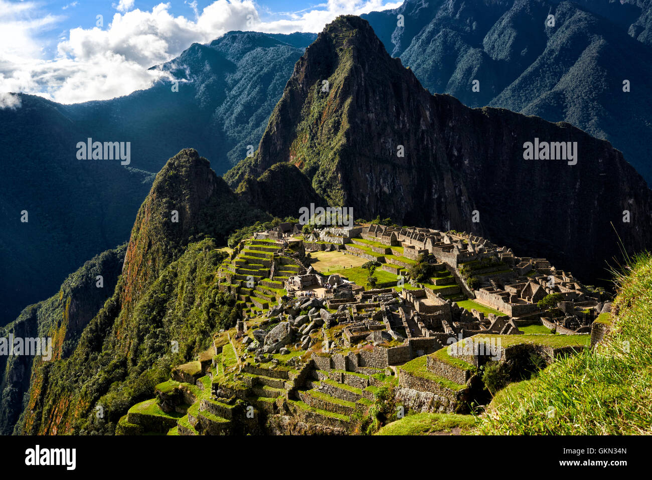 MACHU PICCHU, PERU - MAY 31, 2015: View of the ancient Inca City of Machu Picchu. The 15-th century Inca site.'Lost - Stock Image