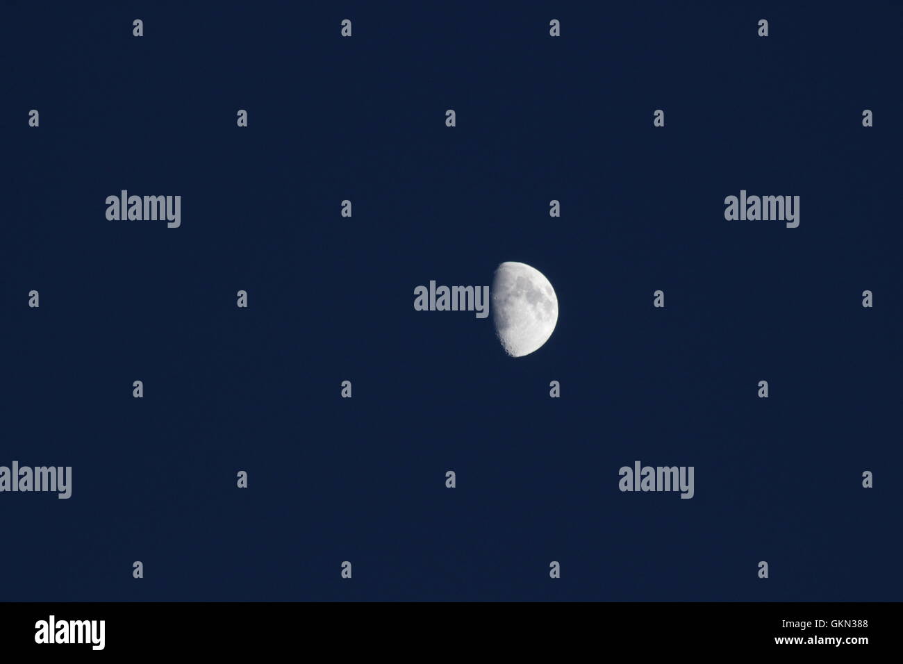 The moon in the night sky (Waxing Gibbous) - Stock Image