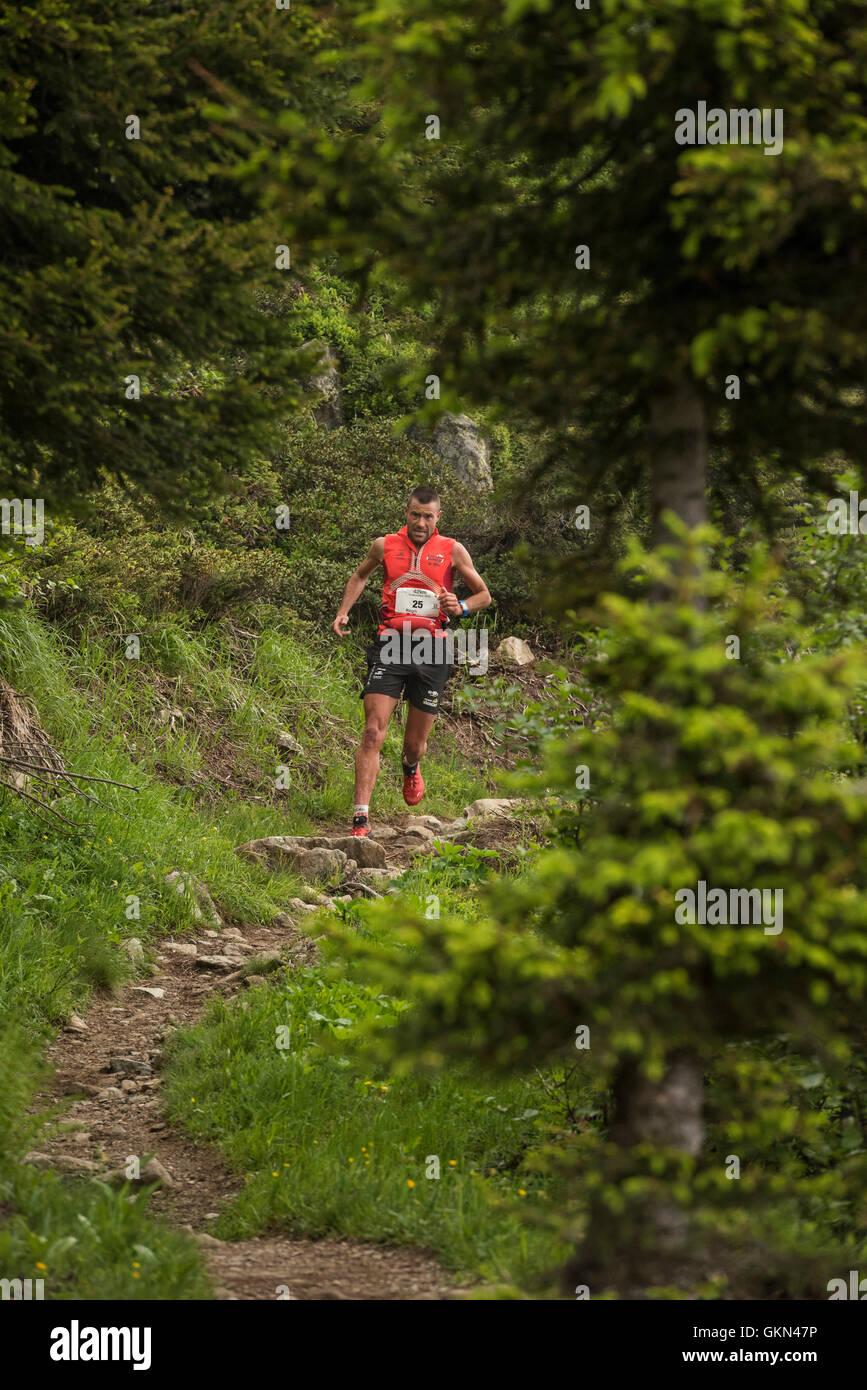 Regis Durand - Chamonix trail running marathon 2016 - Stock Image