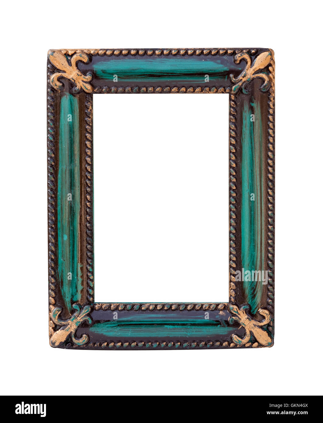 vintage frame on white background with clipping path - Stock Image